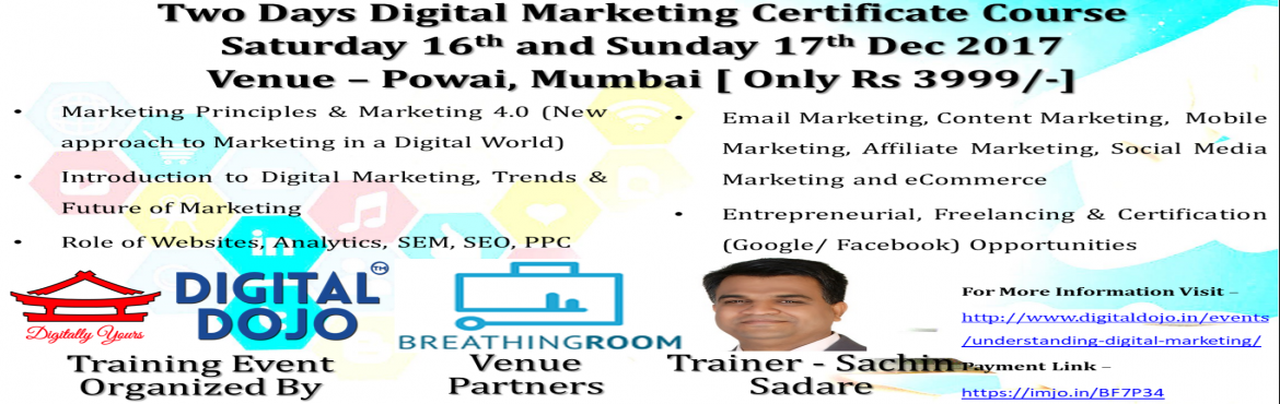Book Online Tickets for Understanding Digital Marketing at Powai, Mumbai. By 2018, half of India's population will have access to Internet. Internet will have reached some of the tier 2 and tier 3 cities of India. By 2025, almost every Indian will have access to the Internet through the smartphone, thereby giving ris