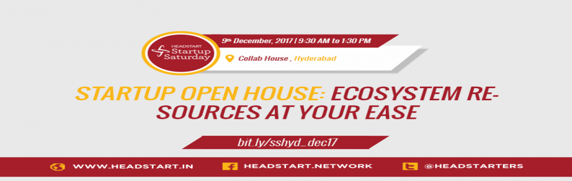 Book Online Tickets for An Open House of Ecosystem Enablers, Hyderabad.  JOIN US: http://bit.ly/sshyd_dec17India continues its momentum of being one of the most vibrant landscape for startups, strengthening its position as the third largest startup ecosystem across the world. As per the 2017 edition of the NASSCOM-Z