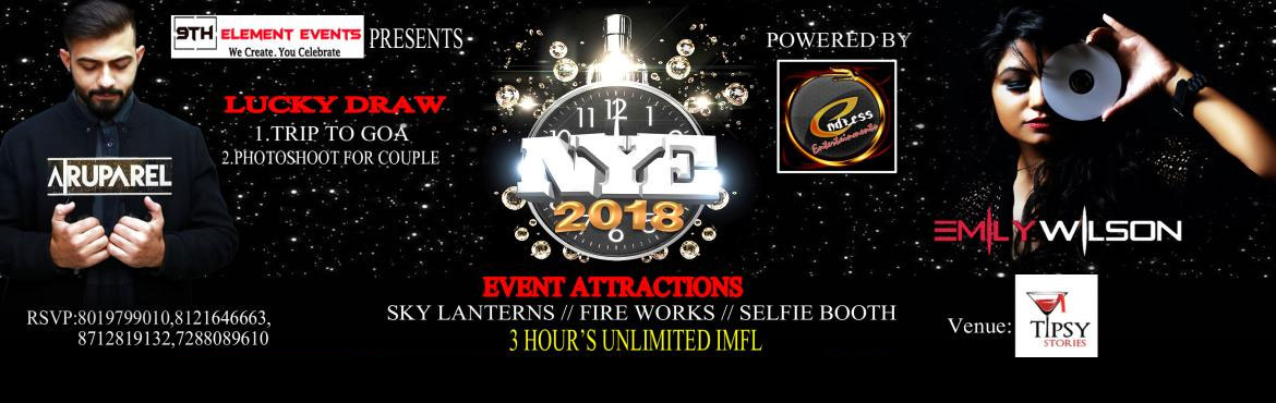 Book Online Tickets for OPEN DOOR NYE 2K18, Hyderabad.        Artist (s):   DJ Emily Wilson and DJ Abishek Ruparel.     Event Attractions:-   SKY LATERNS FIRE WORKS SELIFIE BOOTH UNLIMITED IMFL  Black dog, Blenders pride(unlimited), Teachers(unlimited) Smirnoff(unlimited) Baccardi whi