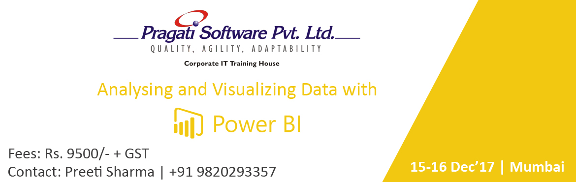 Book Online Tickets for  Analysing and Visualizing Data with Pow, Mumbai. Power BI, a powerful cloud-based service that helps data business analytics tools visualize and share insights from their data.  Itis quickly gaining popularity among professionals in business analytics as a cloud-based service that helps