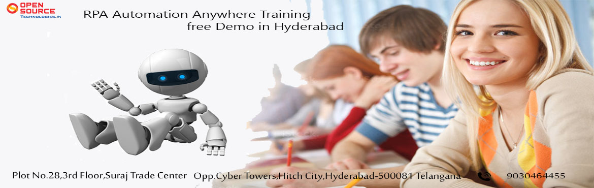 Book Online Tickets for Give A Boost To Your Career Knowledge By, Hyderabad. Indulge In The RPA Profession Career By Attending The Free Automation Anywhere Demo In Hyderabad By Open Source Technologies On 6th Dec 8:30 AM. About The Automation Anywhere Demo: Automation Anywhere is being considered to be one among the highly pr