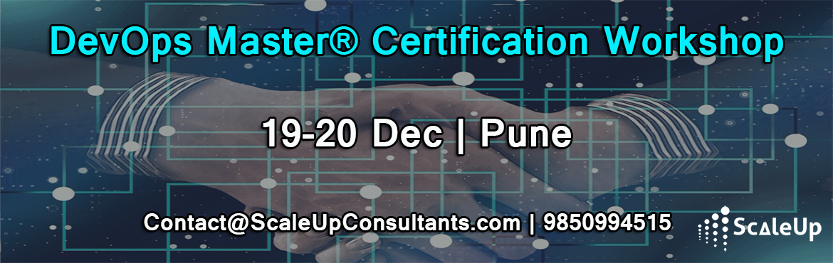 Book Online Tickets for DevOps Training, Pune (19-20-December 20, Pune. DevOps Training and Certification course is designed for Application or Service Developers and Product Owners, Agile Scrum Masters, Project Managers, Test Engineers, Test Managers, IT Service Managers, Process Managers and Lean IT Practitioners to un