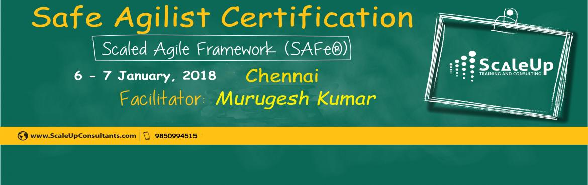 Book Online Tickets for SAFe Agilist Certification Chennai Janua, Chennai. The SAFe® Agilist certification is especially designed for agile leaders, project, program and portfolio managers who work in a scaled agile set-up. The SAFe Agilist certification program is for executives, managers and Agile change agents respon