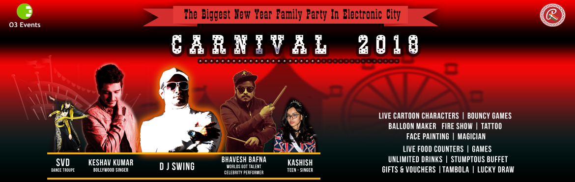 Book Online Tickets for The Biggest New Year Carnival at Ramee G, Bengaluru.  The Biggest New Year Carnival at Ramee GuestLine Hotels and Resorts New Year Celebration package:   Female Stage Entry:   ( INR 2499 AI )    Celebratory buffet dinner and live entertainment on 31st  December IML DJ
