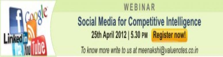 Book Online Tickets for ValueNotes Webinar: Social media for Com, . Everyone has witnessed the explosion of social media in their personal and professional lives. But have you recognised how your business can use it to gather information about your competitors or customers or vendors? Millions of people use social me