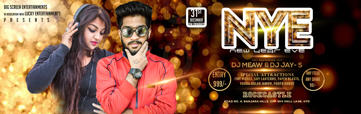 Book Online Tickets for New Year Eve 2018 at Rock Castle, Hyderabad. Big Screen Entertainment in association With Lucky Entertainments Presents New Year Eve 2k18 with Dj Meaw And DJ Jay S @ Rockcastle  Event Attractions:  Open Air area Sky lanterns Fireworks Paper blast Vodka gulab jamun Photo Bhoot Any Food/Any
