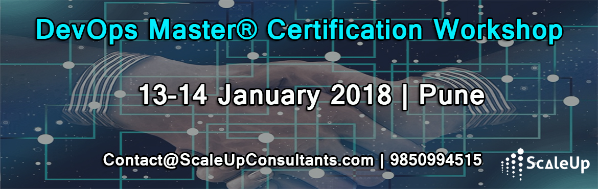 Book Online Tickets for DevOps Training, Pune (13-14-January 201, Pune. DevOps Training and Certification course is designed for Application or Service Developers and Product Owners, Agile Scrum Masters, Project Managers, Test Engineers, Test Managers, IT Service Managers, Process Managers and Lean IT Practitioners to un