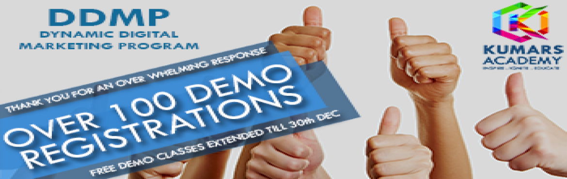 Book Online Tickets for FREE DEMO Dynamic Digital Marketing Prog, Bengaluru.   We Thank you for your immense response on our Dynamic Digital Marketing Program, we are extending our support towards you by conducting Free Demos for an entire week till 30th Dec. From 11:30AM onwards.   About Dynamic Digital Marketing P