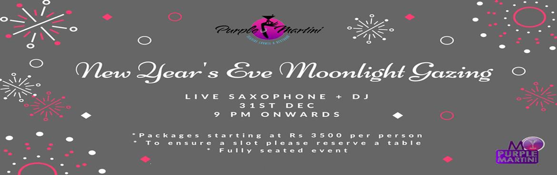 NYE Moonlight Gazing at Purple Martini, Anjuna