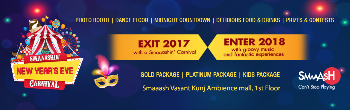 Book Online Tickets for NEW YEAR BASH AT AMBIENCE MALL, New Delhi.  Give 2018 a Smaaashin\' welcome with Bollywood Carnival Theme Dance Night. Eat, Drink, Dance, Play and Party like there is no tomorrow. A fun filled night playing virtual reality games, scrumptious food, delicious cocktails and music you w