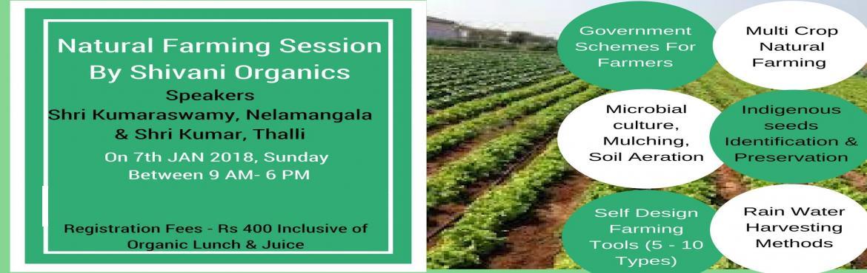 Book Online Tickets for NATURAL FARMING SESSION @ SHIVANI ORGANI, Bengaluru. TOPICS: (9am-1pm)