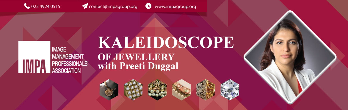 Book Online Tickets for Kaleidoscope of Jewellery, Surat. About the presenter  Preeti Duggal is a Graduate Jeweller Gemologist from Carsbad, GIA, USA. She is a gold medallist from Indian Diamond Institute. She has had an experience of successfully running an export house for 11 years. She won an award