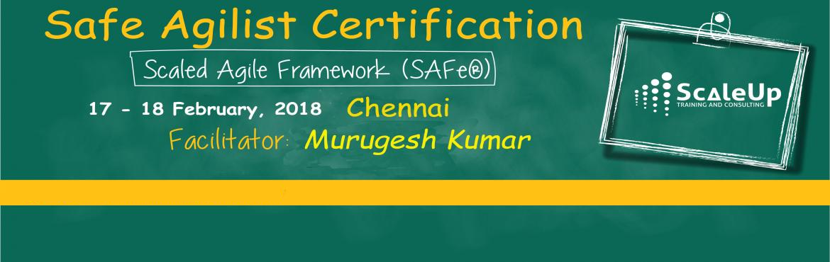 Book Online Tickets for SAFe Agilist Certification Chennai Febru, Chennai. The SAFe® Agilist certification is especially designed for agile leaders, project, program and portfolio managers who work in a scaled agile set-up. The SAFe Agilist certification program is for executives, managers and Agile change agents respon