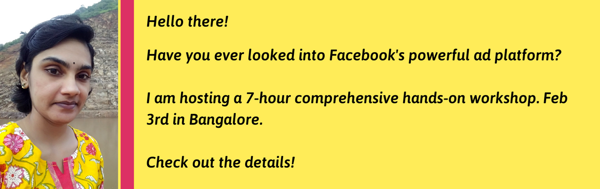 Book Online Tickets for Advertising on Facebook - A hands-on Wor, Bengaluru. Even the best of the best Facebook pages have only 2 to 8% of organic reach. That doesn\'t mean Facebook is not working for businesses. It means it should restrategize.  Until Facebook has 1.03 Billion daily active users, Facebook is a boon for