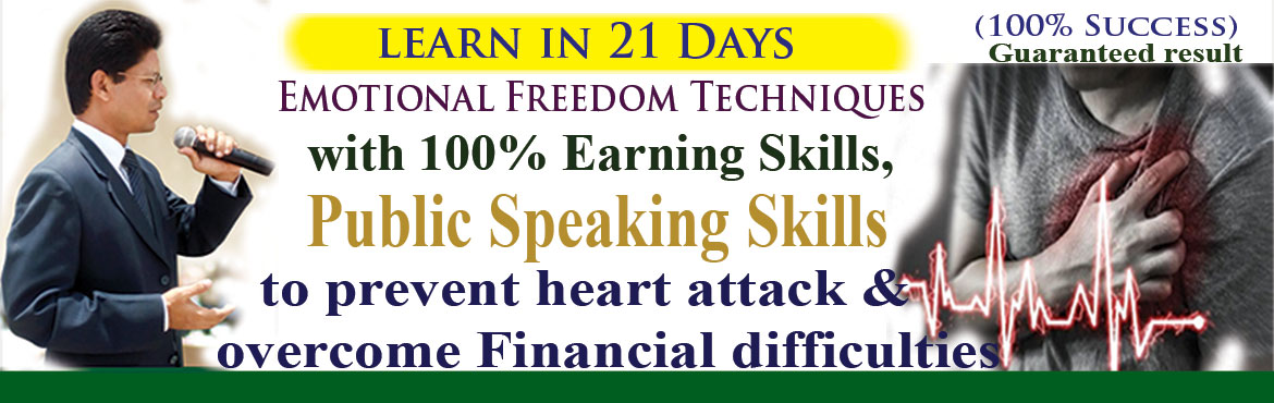 Book Online Tickets for Learn Emotional Freedom Techniques in 21, Hyderabad. Learn Emotional Freedom Techniques in 21 days by investing 21 hours for self I Realized the master key to success is self-discipline and keeping commitment with self of not getting angry on anyone including self. When I get angry I harm myself, my BP