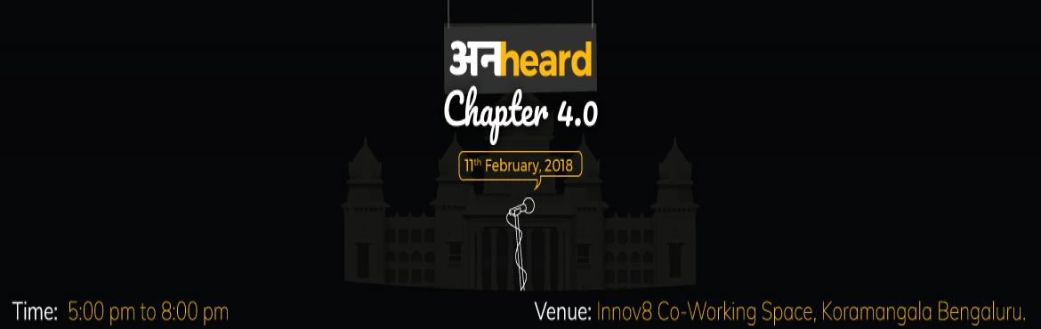 Book Online Tickets for Unheard Chapter 4.0 Bengaluru, Bengaluru.  UnHeard is an open mic event where people can express all their hidden feelings in the form of a story, poem or any other way the participant is comfortable with. This time it is gonna happen in Bengaluru and you must be excited to hear somethi