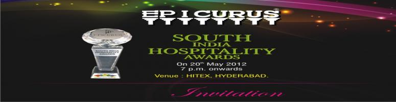 Epicurus South India Hospitality Award 2012 is scheduled to be held on 20th May 2012 at Hitex, Madhapur, Hyderabad.