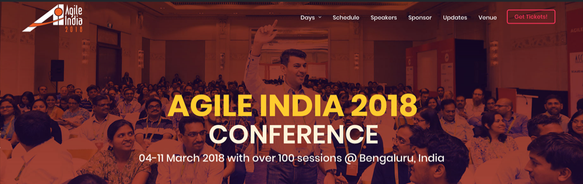 We are very excited to announce the 14th edition ofAgile India Conference (https://2018.agileindia.org/)with brand new themes and a fabulous lineup of