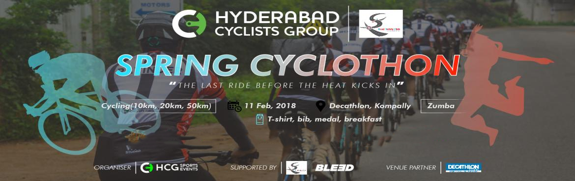 Book Online Tickets for Spring Cyclothon, Hyderabad. Hyderabad Cyclists Group, on our maiden event, the Spring Cyclothon, where we bid adieu to the harsh winter and also hope to raise some awareness about road safety! Come along, bring your family and friends over ...for a great experience, while simul