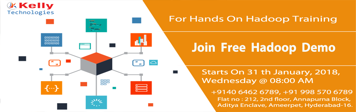 Book Online Tickets for Avail The Best Hadoop Career Opportuniti, Hyderabad. Avail The Best Hadoop Career Opportunities With Kelly Technologies Free Hadoop On 31st Jan @ 8:00 AM. Attend High Interactive Free Demo on Hadoop Technology at Kelly Technologies on 31st January 2018 (Wednesday) @ 8:00 AM And also New Weekend Batch S