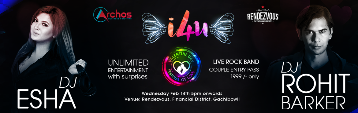 Book Online Tickets for I 4 U - Festival of Love, Hyderabad. This event is celebration of love, which is a Valentine Special. This is purely an entertainment eve with DJs Mr. Rohit Barker and Ms. Esha along with Live Rock Band with a few entry surprises. Pass holders may surprise their valentine at the venue i