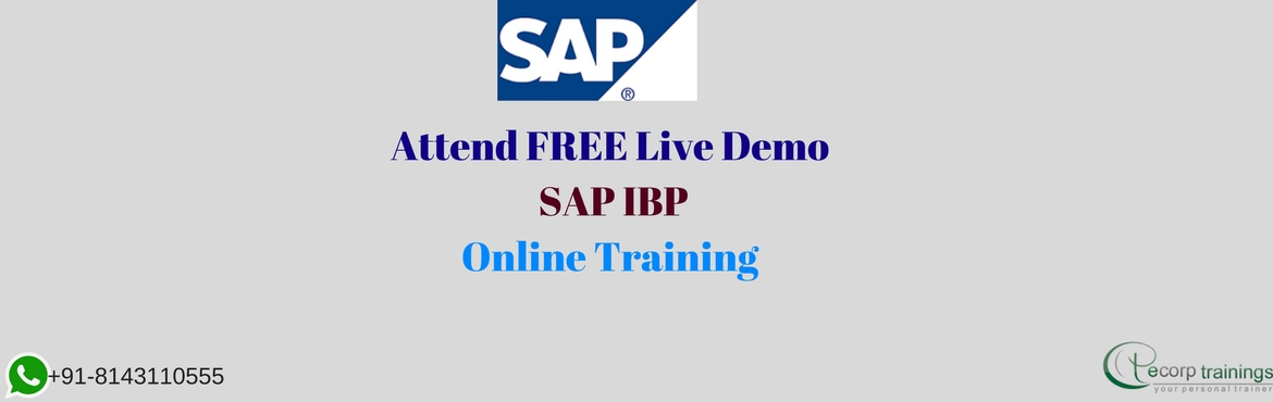 Book Online Tickets for SAP IBP Online Training at Ecorptraining, Hyderabad.  Overview: SAP Integrated Business Planning for sales and operations delivers a cross-departmental plan balancing the impact of product mix, inventory, service levels, and profitability. It further aligns sales and operations plans to corporate