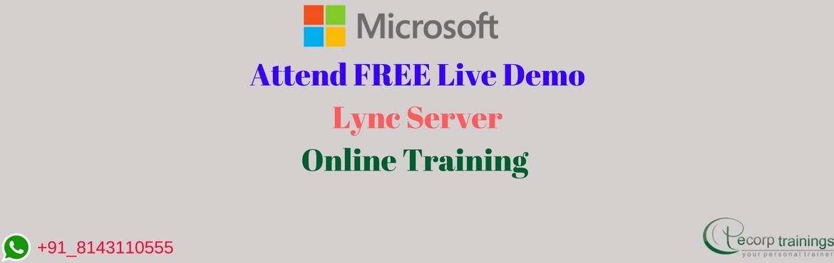 Book Online Tickets for Microsoft Lync Server Online Training at, Hyderabad.  Overview: Microsoft Lync Server is enterprise software that provides a platform for unified communications (UC). Lync Server provides an infrastructure to integrate common channels of business communication including instant messaging (IM), VoI