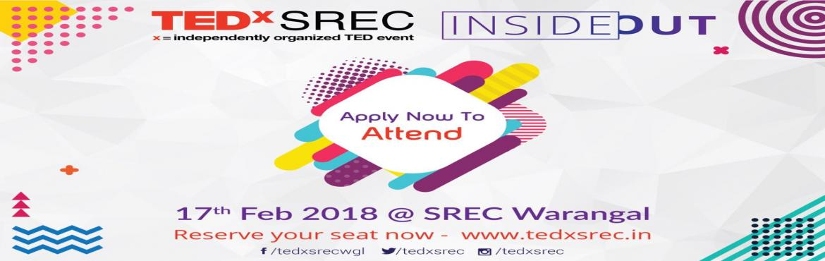 "Book Online Tickets for TEDx SREC, Warangal. TEDxSREC is a local, independently organized TEDx event in Warangal, India. that strives to re-create the unique experience found at TED. At its core, the fundamental goal is to foster ""ideas worth spreading"".The aim of TEDxSREC is to pro"