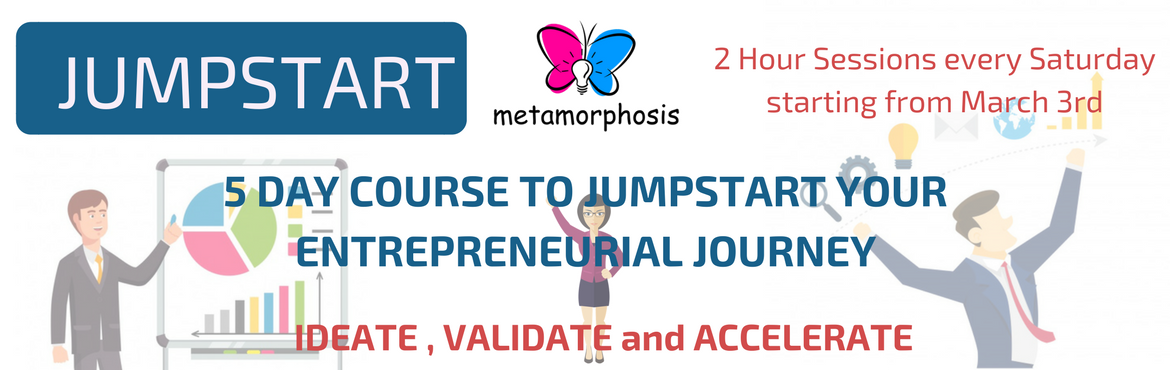 Book Online Tickets for 5 DAY STARTUP, Hyderabad. JUMPSTART YOUR ENTREPRENEURSHIP JOURNEY! These sessions will be spread across 5 Saturdays from 10am to 12pm.   This course is the perfect go-to for all those people with brilliant but dormant ideas. Whether you want to open a boutique or have a