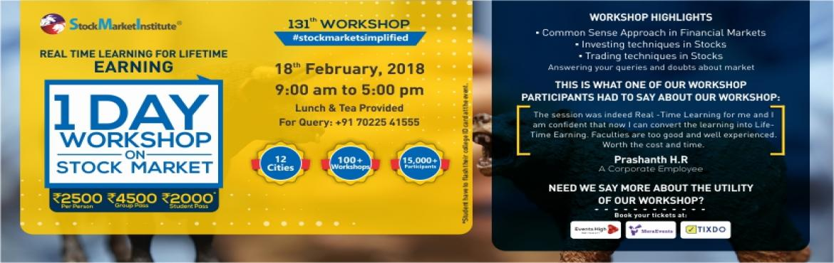 Book Online Tickets for One Day Workshop on Stock Market, Bengaluru. SMI proudly presents 131st One Day Workshop on Stock Market that is thoughtfully designed to teach techniques of Trading and Investing delivered by eminent domain experts. This workshop removes the wrong perceptions you may have related to trading in