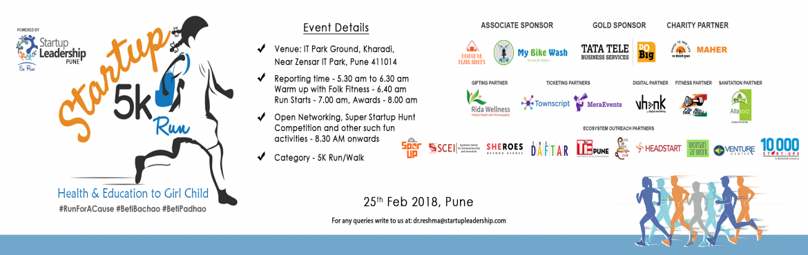 Book Online Tickets for SLP 5k Run/ Walk- Pune , Pune.   Startup 2018 5K Run, Pune will be the biggest startup carnival in Pune that will be attended by hundreds of young Entrepreneurs, Investors, Innovators and Collegiate community to create limitless possibilities for numerous collaborations among
