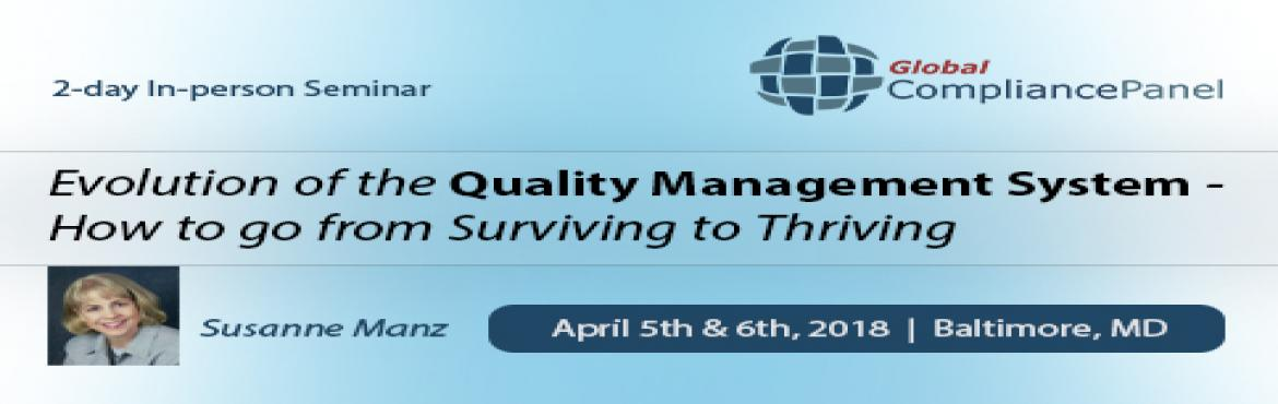 Book Online Tickets for Evolution of the Quality Management Syst, Linthicum.   Course \