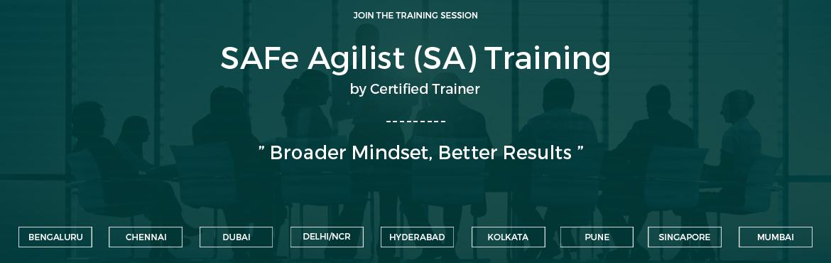 Book Online Tickets for SAFe Agilist (SA) Training  Hyderabad | , Hyderabad. SAFe Agilist (SA) Training SAFe Agilist Certification Mostly in every organization, the Agile journey starts with a small team, and once there is achievement in the venture, the basic for scaling becomes quite evident. TheSAFe