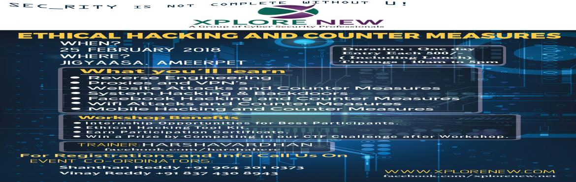 Book Online Tickets for One Day Ethical Hacking and Counter Meas, Hyderabad. Hey guys, Here we are to make you know about the most interactive workshop!! Aren\'t you interested in cyber security!! Ofcourse right..so here is the best way to learn *ETHICAL HACKING ANDCOUNTER MEASURES*