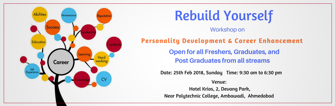 Book Online Tickets for One Day Workshop - Rebuild YOURSELF, Ahmedabad.  One Day Workshop - Personality Development & Career Enhancement The workshop is for open for Individuals, freshers, graduates and postgraduates from all streams & colleges of Ahmedabad.  Workshop will cover the following Key Learni