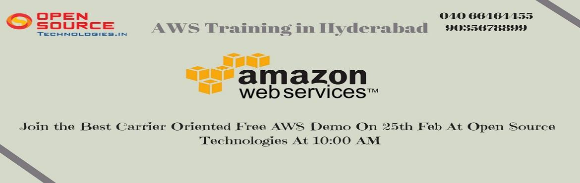 Book Online Tickets for Attend AWS Free Demo In Hyderabad By The, Hyderabad. Its Time To Attend The Best Interactive Demo Session On AWS At The Open Source Technologies Scheduled On 25th Feb @ 10 AM.   Attend AWS Free Demo In Hyderabad By The Open Source Technologies On This Sunday 25th Of Feb At 10 AM.   About The