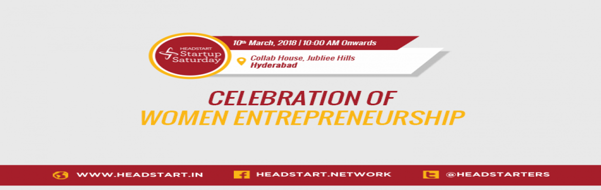 Book Online Tickets for Celebration of Women Entrepreneurship, Hyderabad. The theme for Startup Saturday March is Celebration of Women Entrepreneurship. Startup Saturday is aimed at wannapreneurs to entrepreneurs who need their monthly dose of inspiration and motivation. The is to handhold, guide and nurture the women-foun