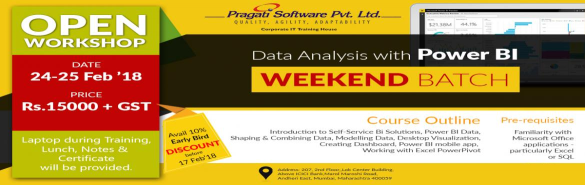 Book Online Tickets for  Analysing and Visualizing Data with Pow, Mumbai. Power BI, a powerful cloud-based service that helps data business analytics tools visualize and share insights from their data.   It is quickly gaining popularity among professionals in business analytics as a cloud-based service that helps