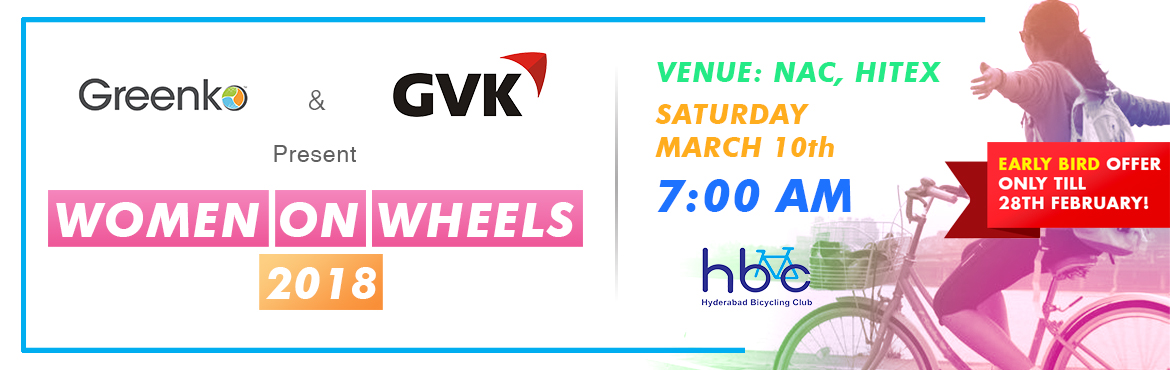 Book Online Tickets for Women On Wheels 3, Hyderabad. To encourage more and more women to ride a cycle and make cycling a part of their healthy lifestyle, Hyderabad Bicycling Club is organising a cycling event for women and their buddies (who motivate them in their lives& are their strength) o