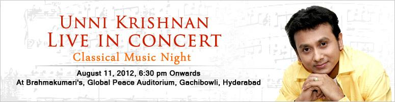 Book Online Tickets for Unnikrishnan - Live in Concert, Hyderabad. Temple of Art & Music, a cultural wing of RosePetals take pride in inviting the Classical Music Lovers of the city of Hyderabad to the \\\