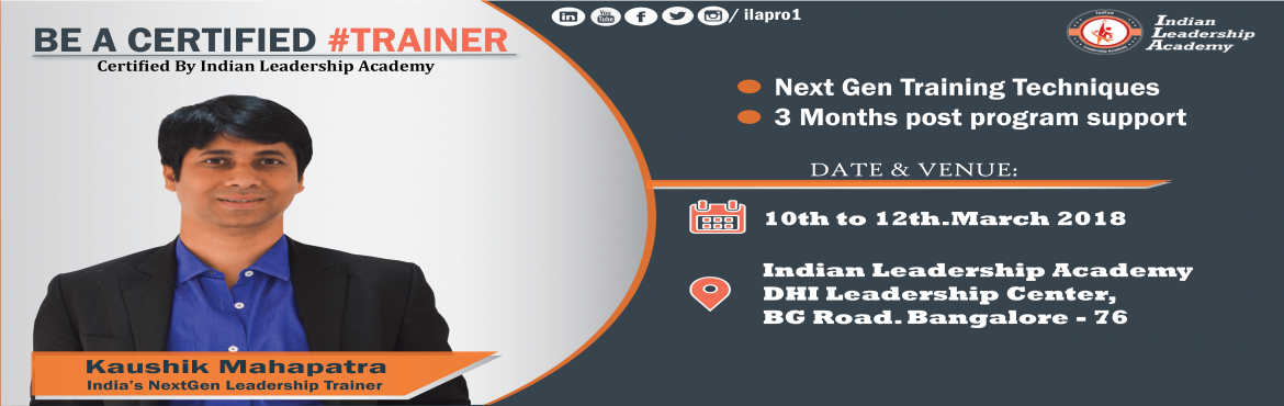 Book Online Tickets for 3 days Train the Trainer Certification P, Bengaluru. As you might know - The training market is expected to reach INR 32 billion by 2020. While there is a galore of opportunities for the trainers, we often get stuck with the below: How to get a mentor who can help us with next gen training techniques?