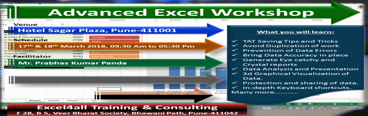 Book Online Tickets for Professional MS Advanced Excel Training , Pune.   Advanced Excel Workshop In Pune on 17th & 18th March 2018-------------------------------------------------------------Topic : Advanced ExcelDuration: 2 days ( 9.30 AM to 5.30 PM)Fees: INR 5,500/ nomination.   Workshop Venue: ( 4 Star