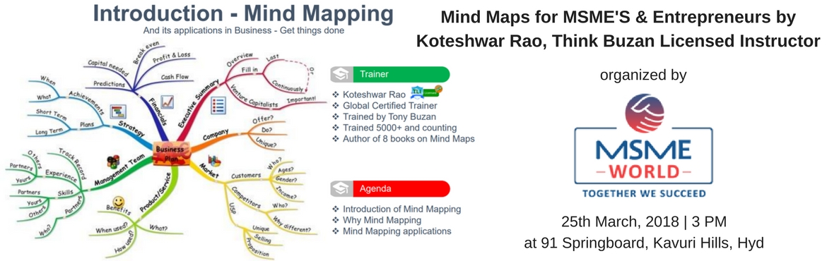 Book Online Tickets for Mind Maps for MSME And Entrepreneurs by , Hyderabad. Mindmaps are used globally for clear cut decision making and effective thought management.  It\'s a good tool for meetings, client presentations and helps business owners to work more efficiently. This session will help MSME\'S And Entrepreneurs