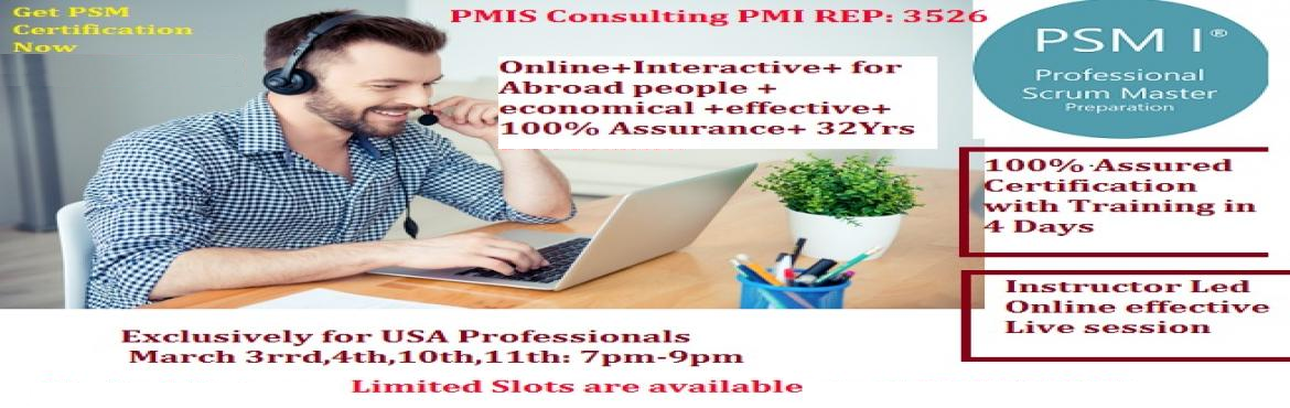 Book Online Tickets for PSM Online Training March 3rd,4th,10th,1, Hyderabad. We are pleased to invite you for this exclusive Professional Scrum Master program with 100% Certification Online Interactive Mar 3rd,4th,10th,11th:6pm-9pm or Mar 3rd,10th:9am-6pm. If you could not clear the exam we will pay 50% of your second attempt
