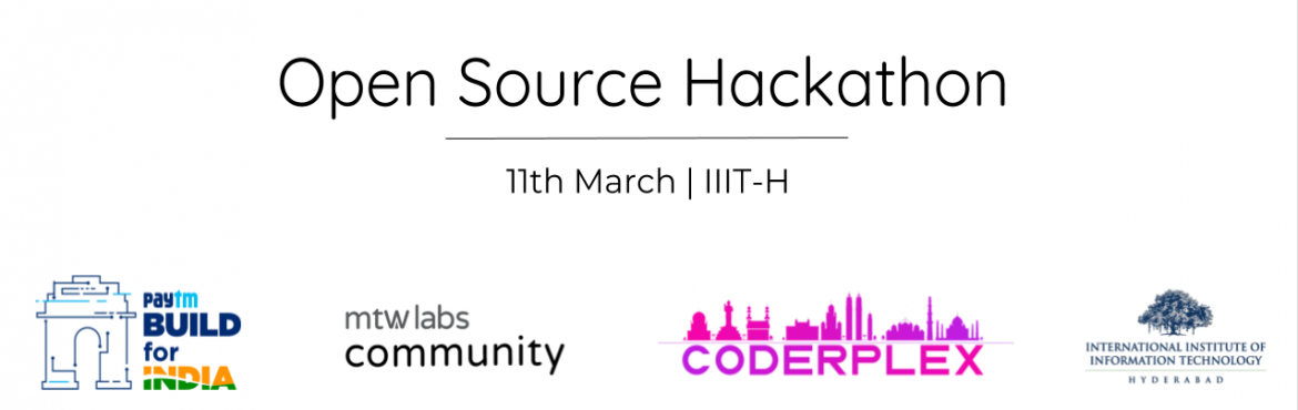 Book Online Tickets for Open Source Hackathon, Hyderabad. One of our core missions at Coderplex Foundation is to build a active Open Source culture in Hyderabad. And so, starting this month, we\'re hosting a full day long Open Source Hackathon at IIIT-H on 11th March, 2018. Agenda :    10:00 AM    Intr