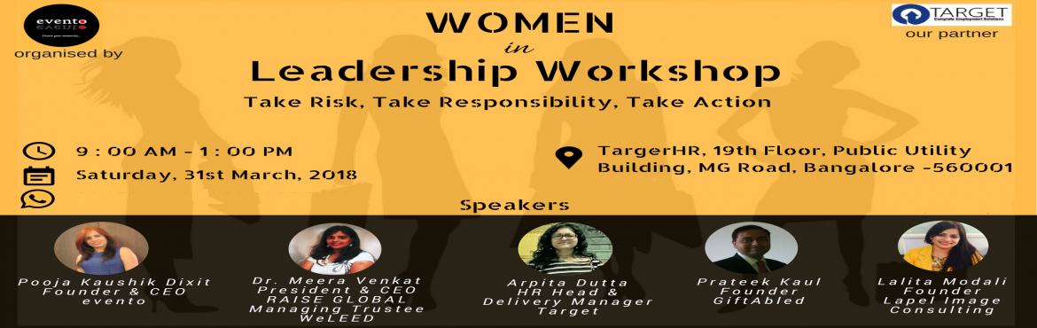 Book Online Tickets for Women in Leadership - Workshop, Bengaluru. Join the Women in Leadership workshop 2018, to take that next step in your career. This workshop will equip you with the mindset and skills to lead with confidence.    The Women in Leadership workshop focuses on helping women to:     U