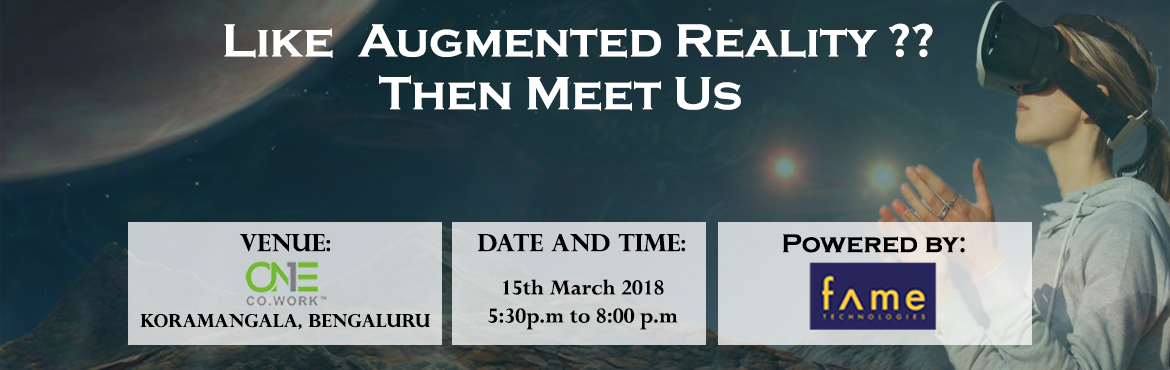 Book Online Tickets for Entrotech 1.0- How to build Augmented Re, Bengaluru. There are a lot of chances for makers and brands to explore the conceivable outcomes of augmented reality (AR) and how it can improve innovative role, give excitement or better society. Tech mammoths, for example, Microsoft, Google and Apple –