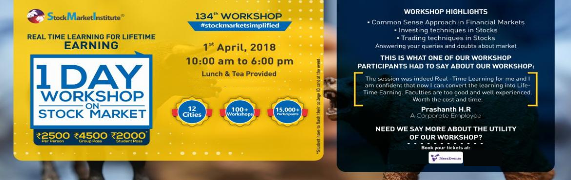 Book Online Tickets for One Day Workshop on Stock Market, Mumbai. Stock Market Institute proudly presents 134th One Day Workshop on Stock Market that is thoughtfully designed to teach techniques of Trading and Investing delivered by eminent domain experts. This workshop removes the wrong perceptions you may h