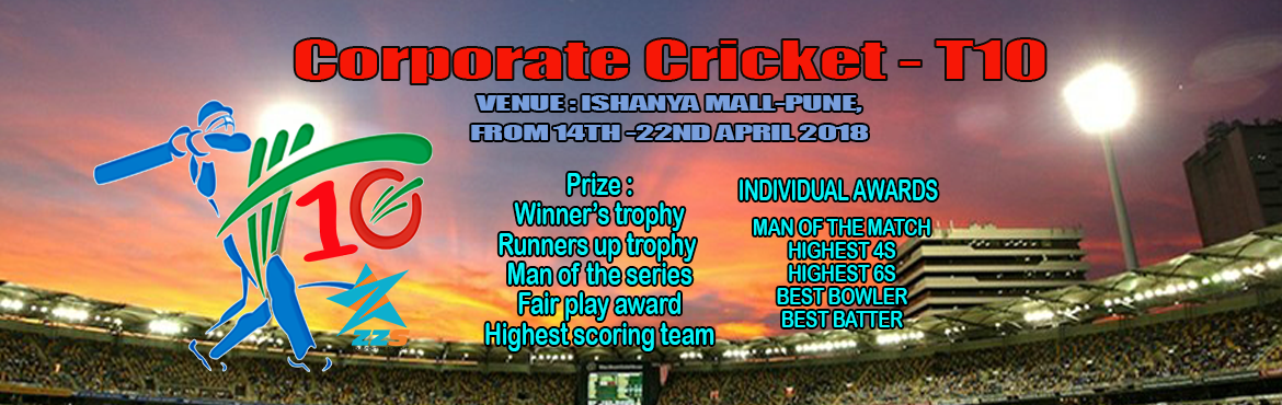 Book Online Tickets for Corporate Indoor Box Cricket T10, Pune. - 6 aside Corporate Cricket in League + Knockout format. - 2 players allowed to change in a league. - Individual Awards - Player of the match,Best batting,Best bowler,Man of the match, Maximum 4s and Maximum 6s. - Team Awards - Trophy for winner\'s ,