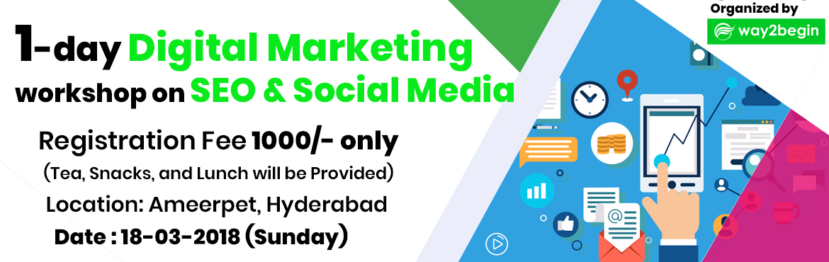 Book Online Tickets for one day digital marketing workshop on se, Hyderabad. Who can attend this Workshop? This Workshop is beneficial for All students (B.Tech, MBA, M.Tech, MCA, and Any Degree), irrespective of their courses or educational background. Digitalization is something we are living in our day to day life, so